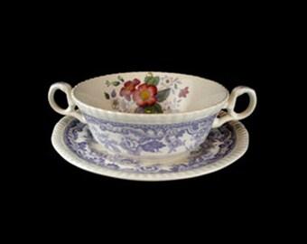 Vintage Spode Mayflower Cream Soup Bowl and Saucer Set
