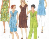Plus Size Womens Maternity Twist-Front Tops, Dresses, Shorts and Pants OOP Butterick Sewing Pattern B5196 Size 16 18 20 22 24 Bust 38 to 46