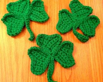 Crochet Shamrock Appliques, Set of 3 Green Clover, St. Patrick's Day Decoration