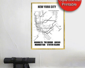 Printable New York City Subway Map, Black White, New York City Subway Print