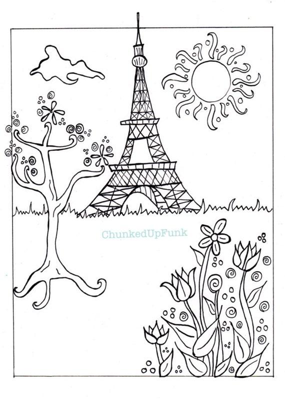 Ilustración de París página para colorear de PDF París en