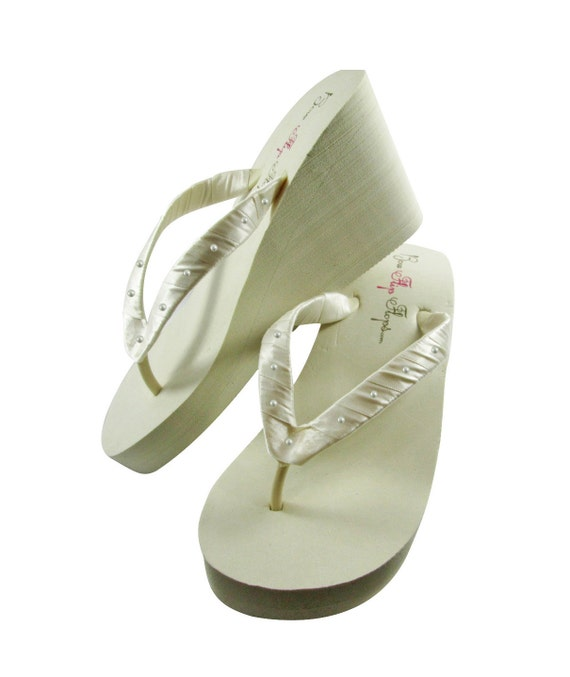 Ivory Rhinestone custom Wedge Flat Satin Heel Flops White Pearl Bride Flip bridesmaid sandals Wedding platform Swarovski bling or shoes UPpSqxEx