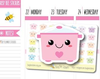 Crock Pot Planner Stickers, Slow Cooker Planner Stickers, Food Stickers, Meal Planning, Happy Planner Stickers, Erin Condren Stickers, Mini