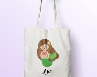 X444Y Tote bag custom child mermaid, bag canvas, cotton bag, diaper bag, tote bag, shopping bag, shopping bag, bag native.