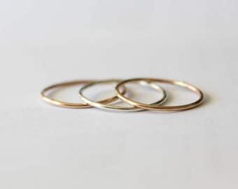 Stacking Rings Trio, Stacking Rings, Stacking Ring Set, Gold Stacking Rings, Silver Stacking Rings, 14k Gold Ring, Minimalist Jewelry, Rings