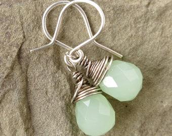 Silver teardrop earrings - sterling wire wrapped spring mint green quartz