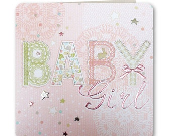 New Baby Card - Baby Girl - Baby Girl Card - New Baby Girl Greeting Card - Congratulations - Hey Baby Collection - HB05