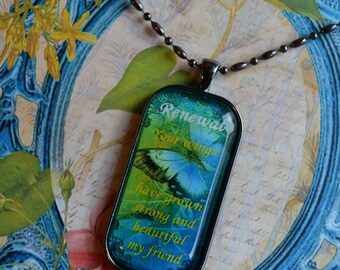 ART POETRY PENDANTS glass inspirational healing journey art therapy recovery ball chain survivor word phrase necklace