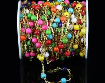 Colorful Mixed Colors Turquoise Round Beads Chain,1 Meter,Golden Plated Wire Wrapped Links Chain,Rosary Cross Fashion Jewelry Findings