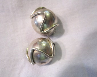sterling mexico clip earrings, modernistic, sterling silver jewelry