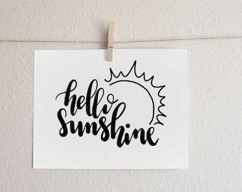 Hello Sunshine - Printable Art - Cute Sun Art - Instant Download - Wall Art Home Decor Nursery Decor