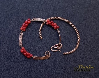 Set of 2 women bracelets,Copper red coral bracelets,women copper bracelets,red women bracelet,Red Coral charm copper bracelet,Red Bracelet