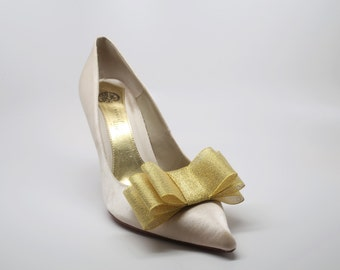 Gold Ribbon Bow Shoe Clips Set Of Two, More Colors Available