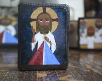 2.5 ish X 3.5 ish inch Divine Mercy Folk/Byzantine Icon on wood