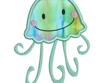 Cute Applique Jellyfish Jelly Fish II Machine Embroidery Design 4x4 and 5x7 Instant Download