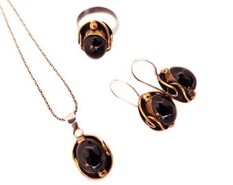 Vintage Sterling Silver and Onyx Modernist Parure Jewellery Set, Necklace, Earrings and Ring