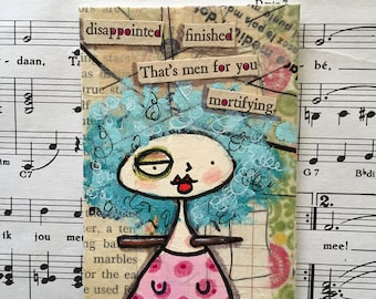 Original mixed media found poetry ACEO / ATC
