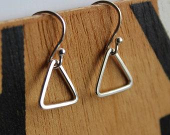Silver triangle earrings/triangular earrings/geometric earrings/small open triangle earrings/small triangle earrings/tiny triangle earrings/
