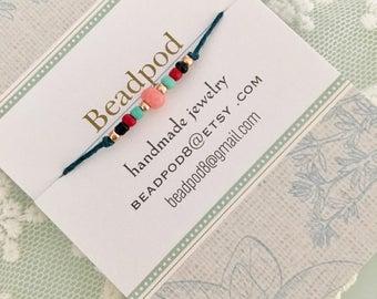 Beaded wish bracelet, friendship bracelet, wedding favors, bridesmaid gift, hen party