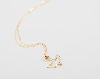 Dove necklace. gold filled. bird of peace. olive branch. peaceful soul. motherhood symbol. Ornithology. bird enthusiasts. mother's day gift