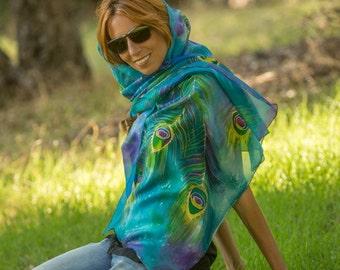Hand painted silk scarf, Peacock silk scarf, Unique design silk scarf, large silk scarf.