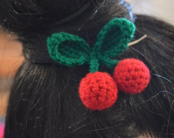 Crochet Cherry Hair Pin