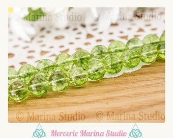 5 natural 6mm round peridot beads