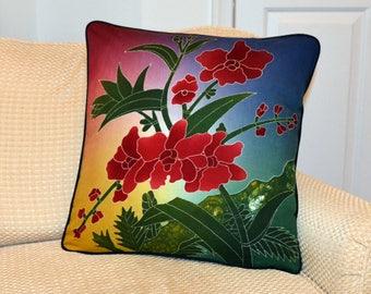 Red Orchids Batik Pillow Cover