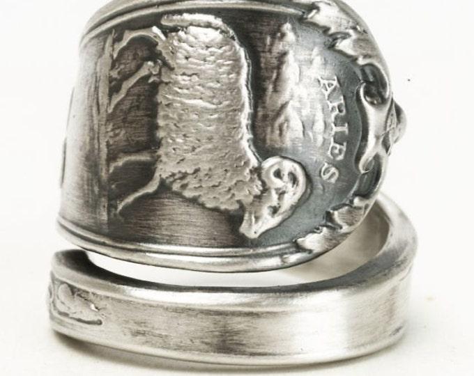 Aries Ring, Spoon Ring Sterling Silver, Zodiac Ring, Ram Ring, Handmade Gift, Custom Ring Size, Astrology Ring, April Horoscope Ring (3154)