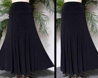 UltimateTravelers Skirt, Office Skirt, Dance Skirt, Designer Long Skirt, Flared Skirt, Swing Skirt, Plus size Skirt, Black Skirt,1XL,2XL,3XL