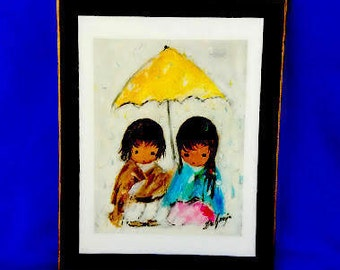 Walking in the Rain by Ted DeGrazia