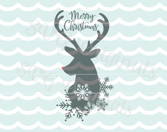 Reindeer SVG Vector File. Rudoph the red nosed reindeer SVG Christmas SVG Merry Christmas Reindeer Cricut Explore and more!