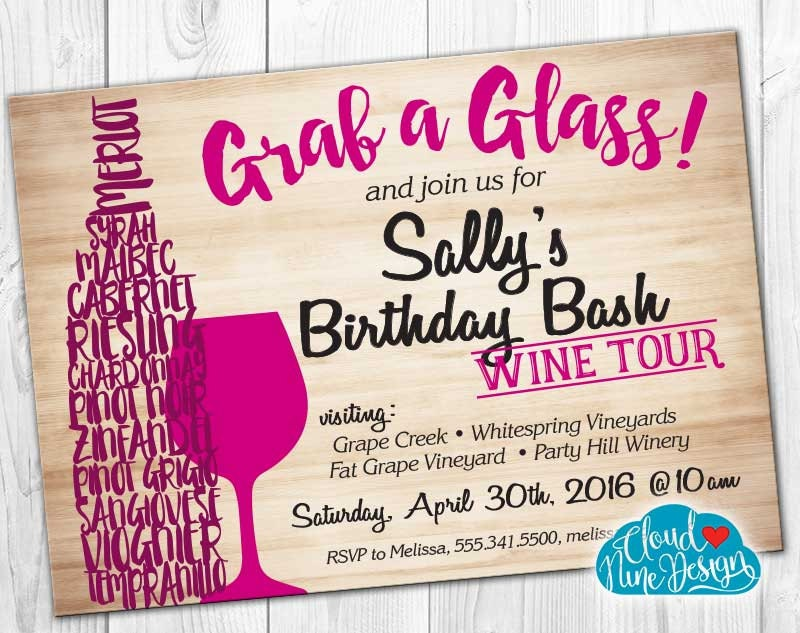 Birthday Invitation Birthday Wine Tasting Wine Tour