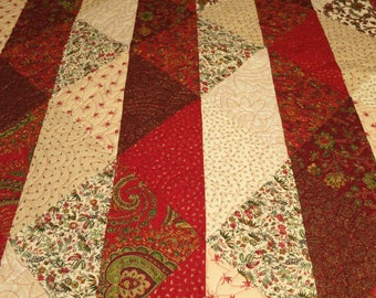 Red and Cream Triangle Quilt