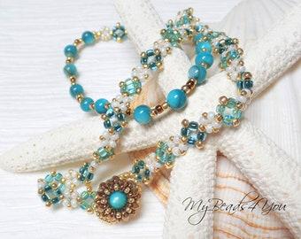 Wrap Bracelet, Beaded Bracelet, Beadwoven Bracelet, Wrap Bracelet, Boho Bracelet, Aqua Beads,Turquoise Bracelet, Beadwork,Beads, MyBeads4You
