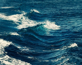 Ocean wall art, ocean photography, waves home decor, ocean print, wave print, sea decor, bathroom decor, dark teal decor, navy blue wall art