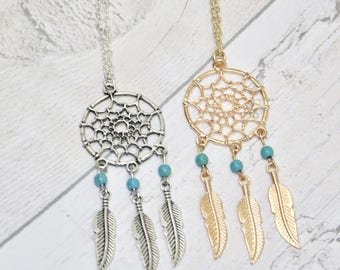 Dreamcatcher Necklace, Dreamcatcher Jewellery, Festival Necklace, Festival Jewellery, Bohemian Necklace, Boho Jewellery, Festival Style