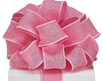"4yds,33"" Pink BURLAP 1-1/2"" Wired Edge Ribbon Bubblegum Rose (Free Shipping!)"