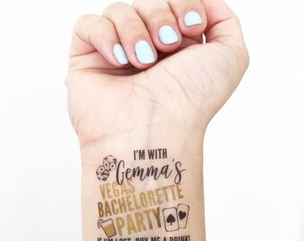 Custom Bachelorette Party Temporary Tattoos - Vegas