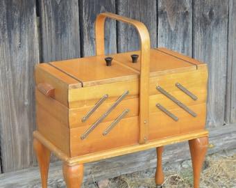 Vintage XL Sewing Box with Legs, Mid Century Modern Wood Sewing Cabinet, Accordion Folding Knitting Box, Big Jewelry Box Organizer 50's-60's