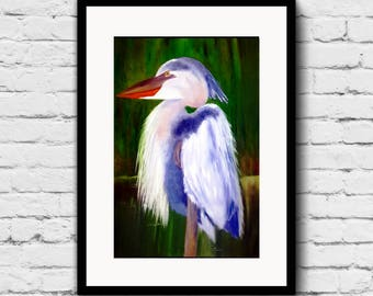 Heron Wall Art, Blue Heron Print, Heron Art Print, Bird Wall Art, Bird Wall Decor, Bird Wall Print, Wildlife Print, Wildlife Art, Bird Print