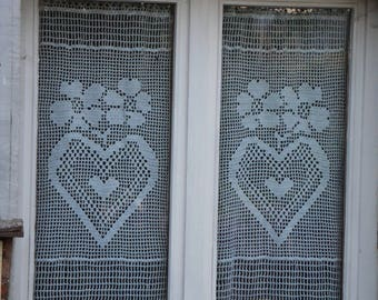 Curtain size XL trails collection hand made crochet I love you