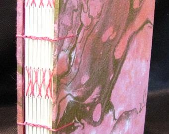 Pink and Gold Marble Journal Coptic/Herringbone Binding