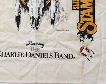 1980's Charles Daniels Band bandana vintage band bandana cream