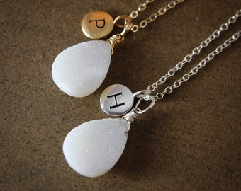 50% OFF SALE White Druzy Necklace - with Initial Charm - Personalized Necklaces