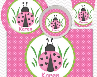 Ladybug Pink Green Plate, Bowl, Cup, Placemat - Personalized Ladybug Dinnerware for Kids - Custom Tableware
