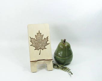 Cell Phone Stand. Tablet Stand. Docking Station. Phone Holder. Maple Leaf. Canada. Kitchen Accessory. Charging Station. Birthday Gift. Art