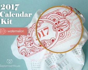 Sale 20% off 2017 Calendar embroidery kit with matching floss and instructions WATERMELON, DIY Fabric Calendar Panel 2017 calendar