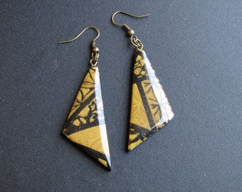 Resin triangle gold and black polymer clay earrings