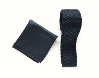 Knitted Navy blue skinny tie navy silk pocket square wedding knit tie gift for him groomsmen uk